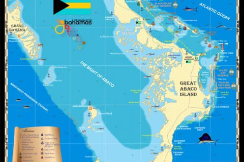 The Abaco Islands form the northern edge of the Bahamas, east of Palm Beach. They rest along the edge of the Little Bahama Bank some 800 miles south of Bermuda, across the open Atlantic Ocean.