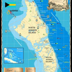 The map of Andros. Andros is the largest island in the Bahamas at 2,300 square miles, stretching for some 100 miles from north to south.