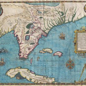 This 1591 antique map shows Florida and The Bahamas, as it was understood at that time.