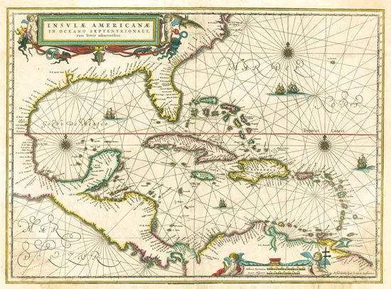 This 1636 antique map shows the Caribbean, as well as the Bahamas, Florida, the Gulf of Mexico and northern coast of South America.