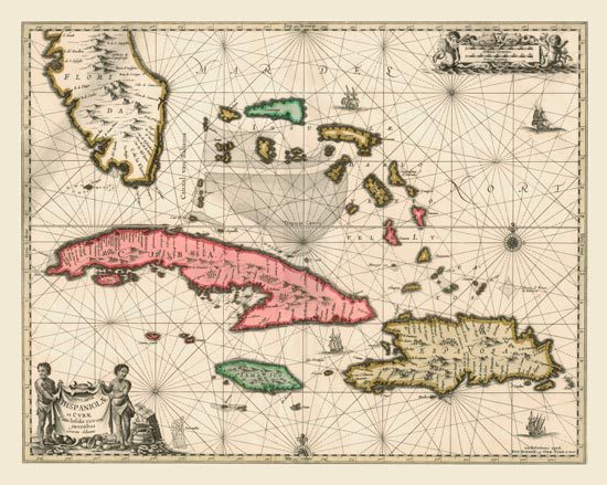 This antique map is circa 1650 and was a collaboration of Valk, Jansson & Schenk. It shows central and southern Florida, The Bahamas, Cuba, Jamaica and the Dominican Republic.