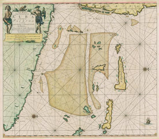 This 1695 antique map shows the coast of Cuba and Florida, and parts of the Bahamas.