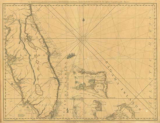 This 1792 antique map shows Southern Florida and the northern Bahamas.
