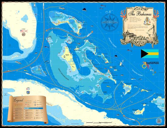 This beautiful map displays the Islands of the Bahamas, Florida and coastal Cuba. This was the first map released by Island Map Store, and it consistently remains our most popular!