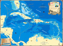 Map of the entire Caribbean, covering the islands and coasts of many locations including Florida