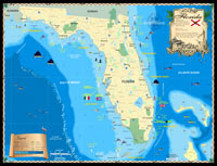 Map of the State of Florida. Includes information on lighthouses throughout the state, counties, major cities, roads and parks.