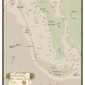 Sanibel, Captiva and Pine Island Sound earth tone Map